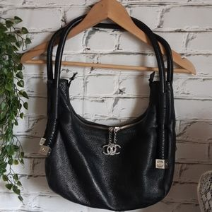 Black Leather Monogram Bag